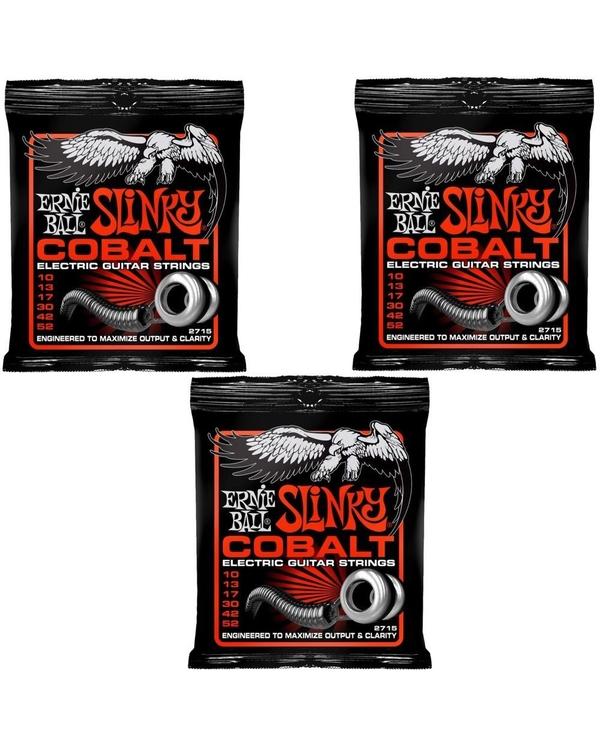 3 Pack Ernie Ball 2715 Cobalt Skinny Top Heavy Bottom Electric Guitar Strings