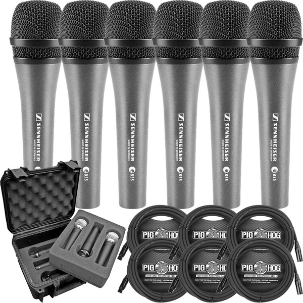 (6) Sennheiser e835 Dynamic Cardioid Vocal Microphones with SKB iSeries Mic Case & Cables