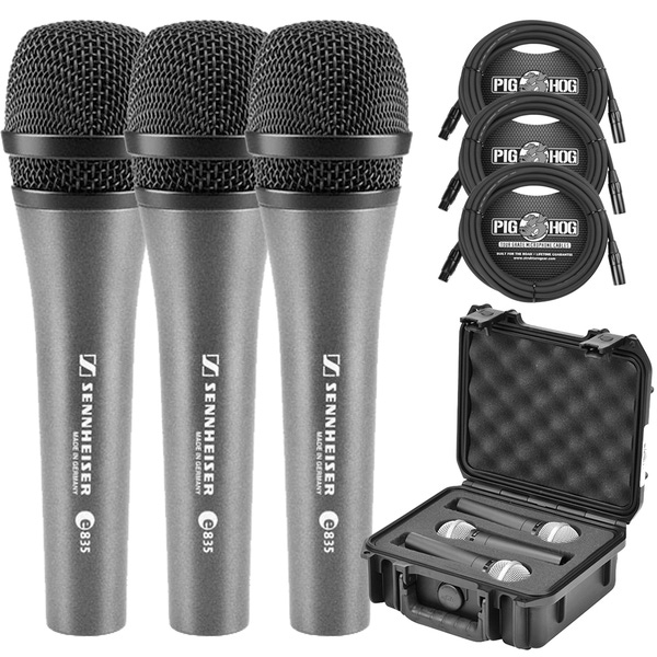 (3) Sennheiser e835 Dynamic Cardioid Vocal Microphones with SKB iSeries Mic Case & Cables