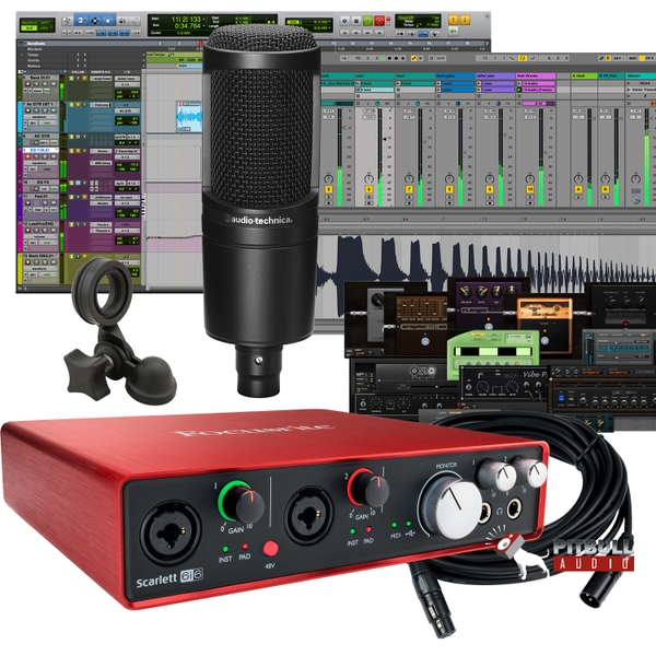 Focusrite Scarlett 6i6 (2nd Gen) Pro Tools First Recording Bundle with Audio Technica AT-2020 Mic and Cable