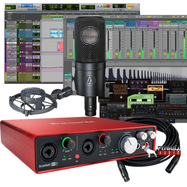 Focusrite Scarlett 6i6 (2nd Gen) Pro Tools First Recording Bundle with Audio Technica AT-4040 Mic & Mogami Cable