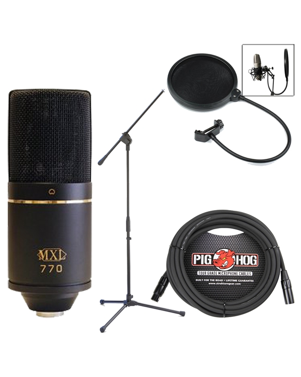 MXL 770 Studio Microphone Bundle with Case, Shock Mount, Stand, Pop Filter, & Cable