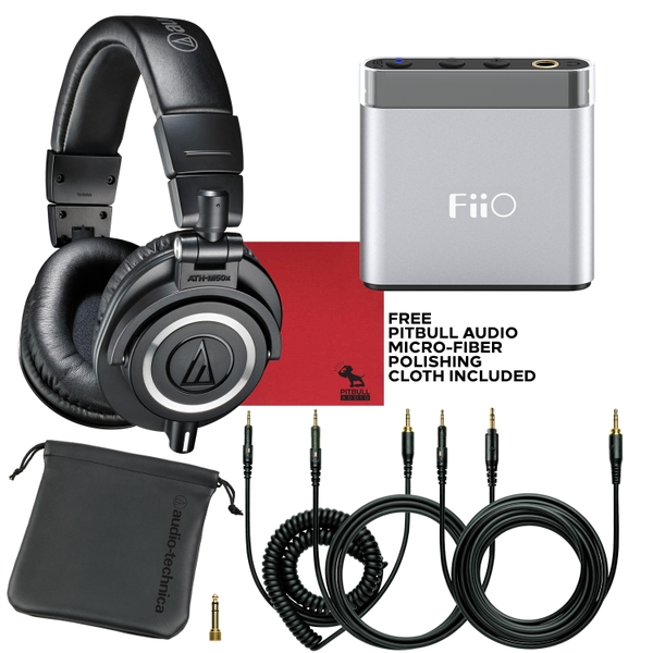 Audio Technica M50X Headphones (Black) with FiiO A1 Portable Headphone Amp