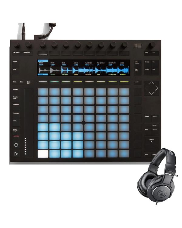 Ableton Push 2 Live 10 Controller and Audio Technica M20X Headphones