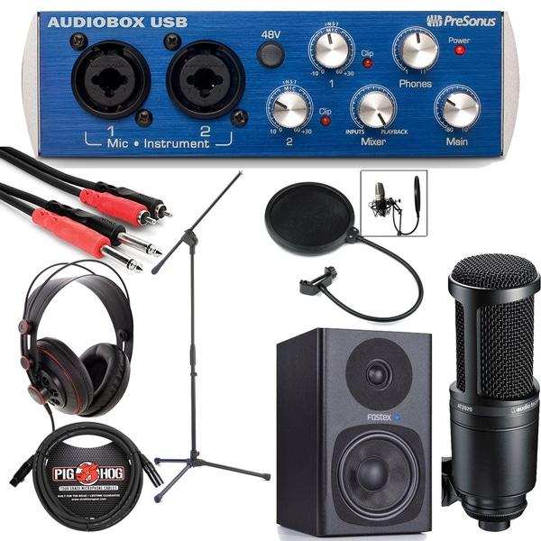 PreSonus AudioBox USB Home Recording Bundle 2 with Microphone, Black Monitors, Headphones, & More