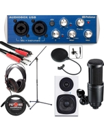 PreSonus AudioBox USB Home Recording Bundle 2 with Microphone, White Monitors, Headphones, & More