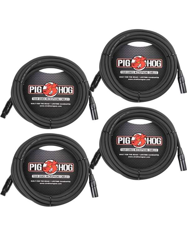 4-Pack of Pig Hog PHM15 Microphone XLR Cables - 15 ft