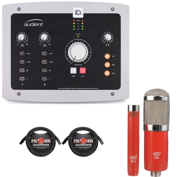 Audient iD22 High Performance AD/DA Interface with MXL Microphone Set and XLR Cables