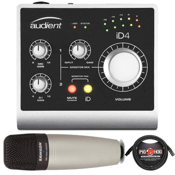 Audient ID4 High Performance USB Audio Interface with Samson C01 Microphone and 10' Cable