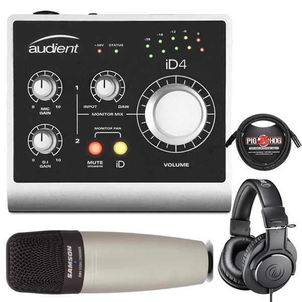 Audient ID4 USB Interface with Audio Technica M20X Headphones, Samson C01 Microphone, and 10' Cable