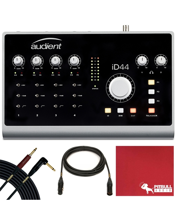 Audient iD44 - 20-in/24-out Recording Interface with Mogami Silent Plug Cable and Mogami XLR Cable