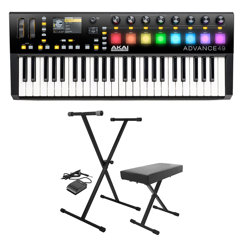 Akai Professional Advance 49 Keyboard Controller with Stand, Bench, & Sustain Pedal