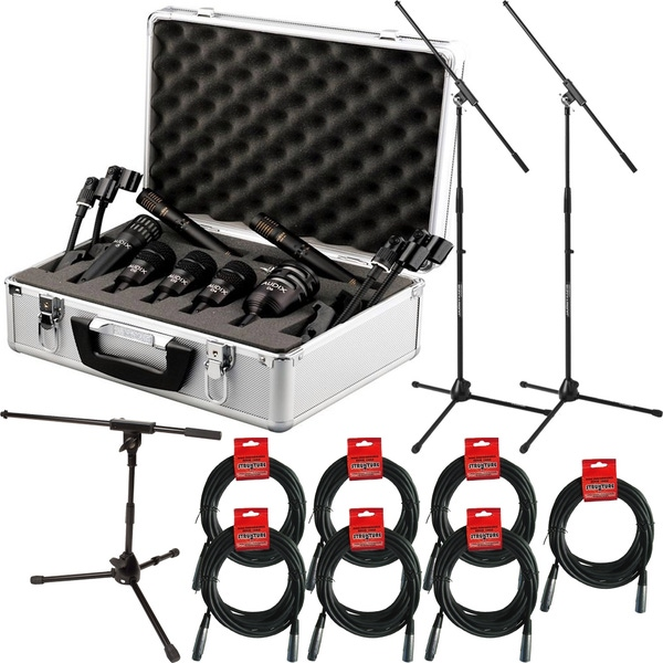 Audix DP7 7-Piece Drum Microphone Package with Cables and Stands