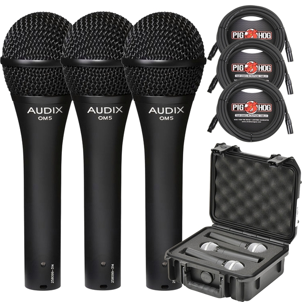 (3) Audix OM-5 Dynamic Hypercardioid Microphones with SKB iSeries Mic Case & Cables