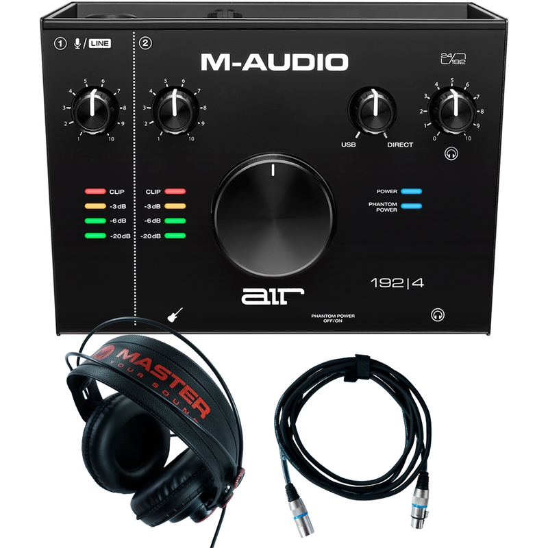 Home Recording M-Audio Air 192-4 Pro-Tools First + Mic Cable + Headphones