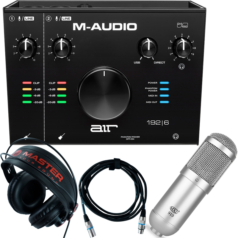 Home Recording M-Audio Air 192-6 Pro-Tools First + Mic + Headphones +  Cable