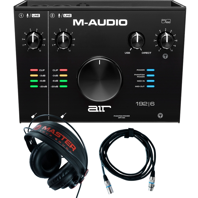 Home Recording M-Audio Air 192-6 Pro-Tools First + Mic Cable + Headphones