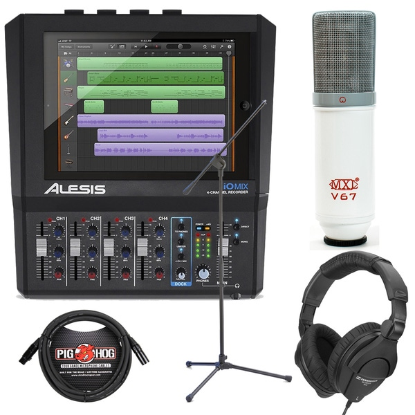 Alesis iO Mix 4-Channel Interface/Mixer Recording Bundle with Headphones, Mic, Stand, & Cable