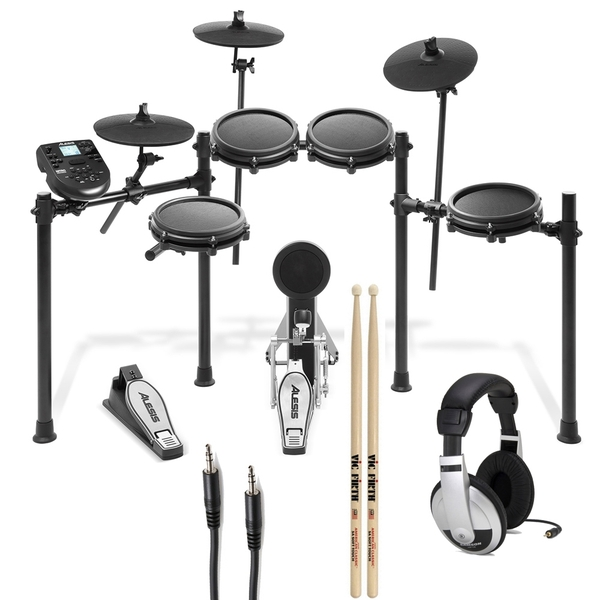Alesis Nitro Mesh Drum Kit (8-Piece) with Sticks, Headphones, and Auxiliary Cable