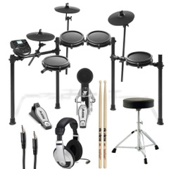 Alesis Nitro Mesh Drum Kit (8-Piece) with Throne, Sticks, Headphones, and Auxiliary Cable