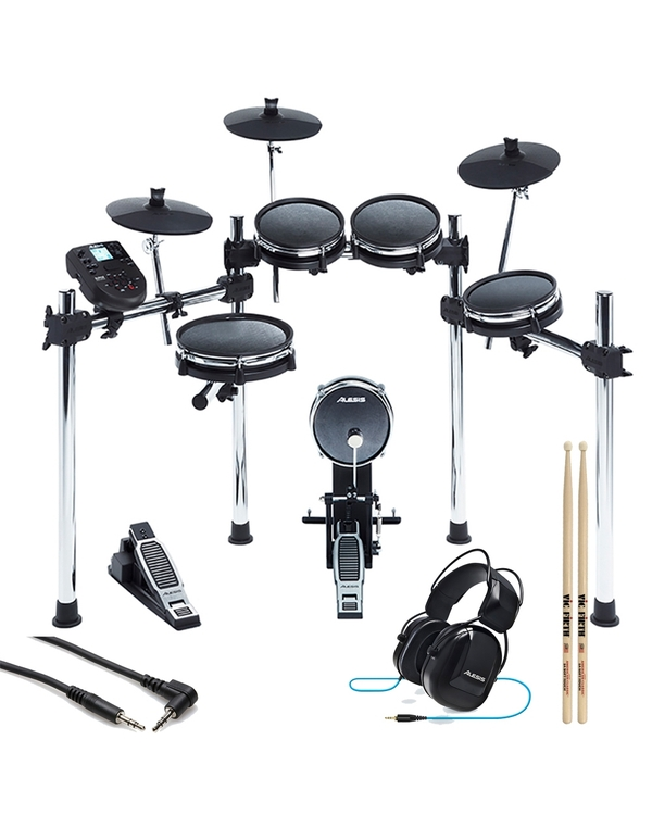 Alesis Surge Mesh 8-Piece Electronic Drum Kit with Sticks, Headphones, and Auxiliary Cable