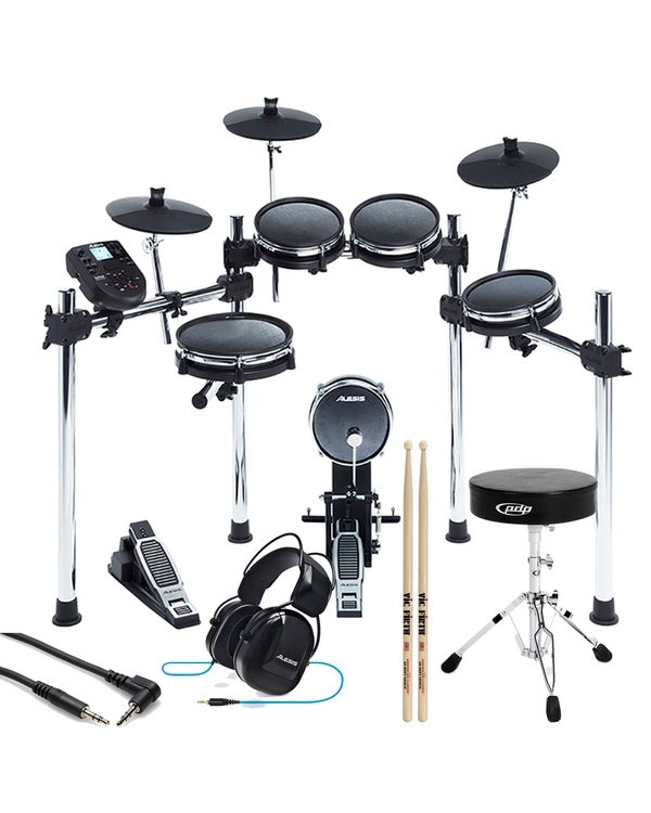 Alesis Surge Mesh 8-Piece Electronic Drum Kit with Throne, Sticks, Headphones, and Auxiliary Cable