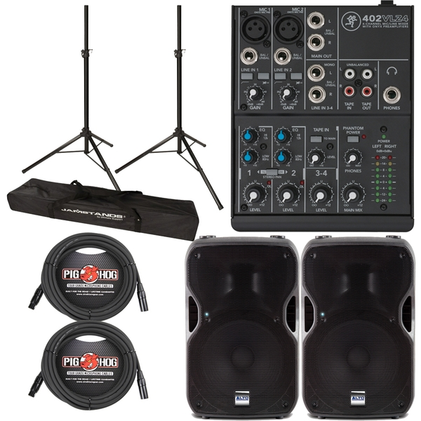 Alto TS115A Active 800W Speaker with Mackie 4-Channel Mixer, Stands and Cables