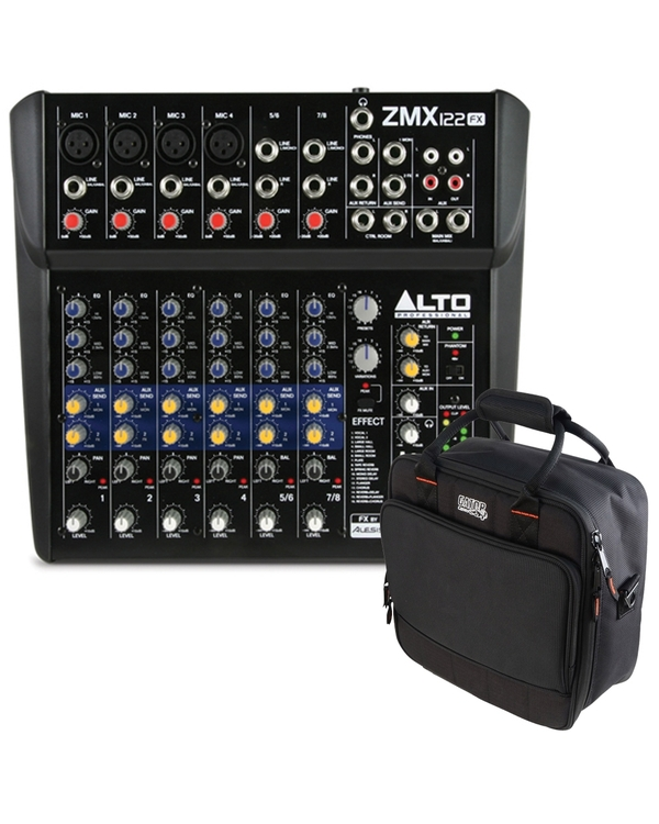 Alto ZMX-122FX 8-Channel Live Sound Reinforcement Mixer with Gator Mixer Bag