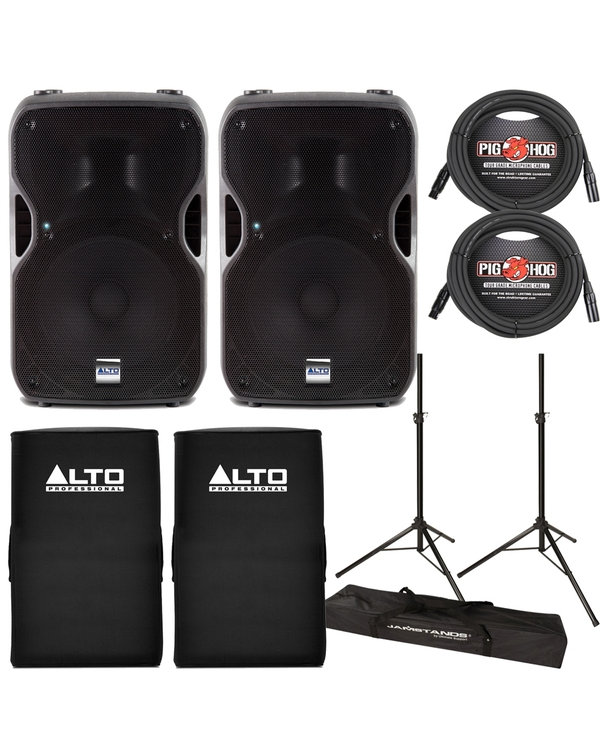 Alto Truesonic TS115A Active Speaker Pair with Stands, Cables, and Covers