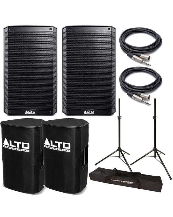 Alto TS210 Truesonic Speaker Pair with Covers, Stands, and Cables