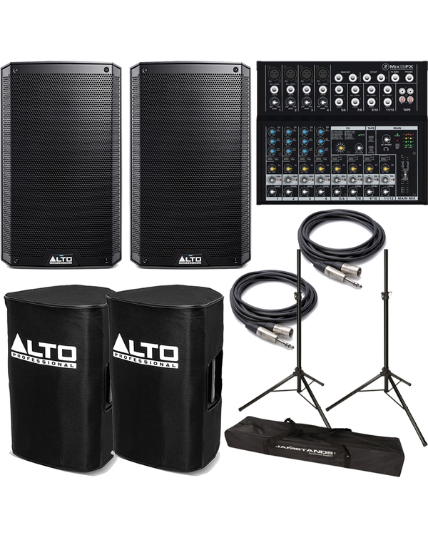 Alto TS210 Truesonic Speaker Pair with Mackie Mixer, Covers, Stands, and Cables