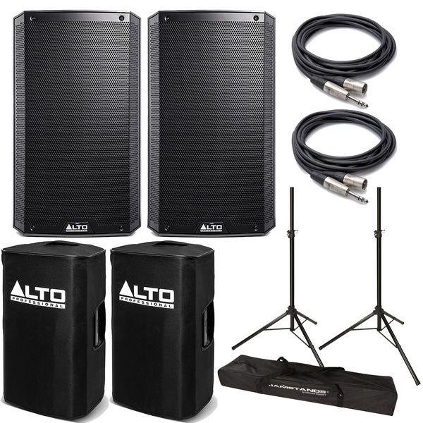Alto TS212 Truesonic Speaker Pair with Covers, Stands, and Cables