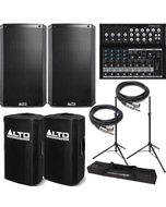 Alto TS212 Truesonic Speaker Pair with Mackie Mixer, Covers, Stands, and Cables