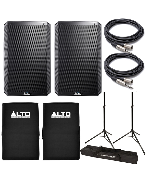Alto TS215 Truesonic Speaker Pair with Improved Covers, Stands, and Cables