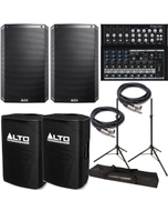Alto TS215 Truesonic Speaker Pair with Mackie Mixer, Covers, Stands, and Cables