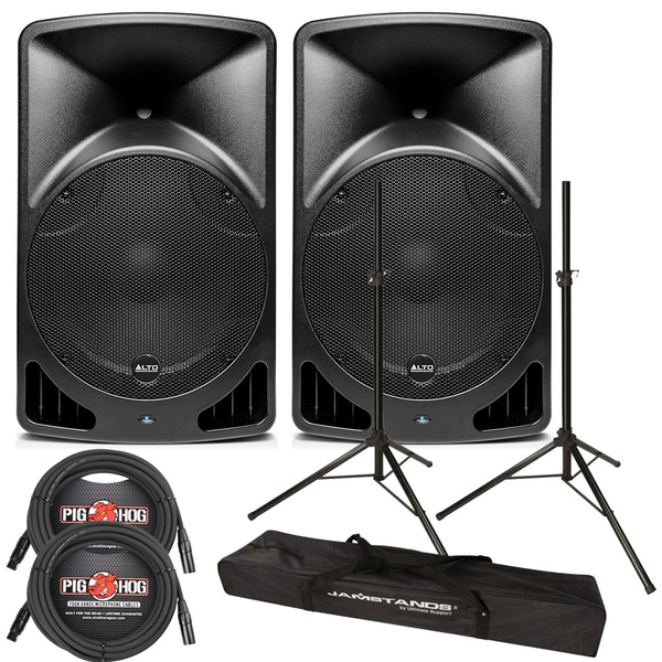 Alto TX15USB 600-Watt Active Speaker Pair with Stands and Cables