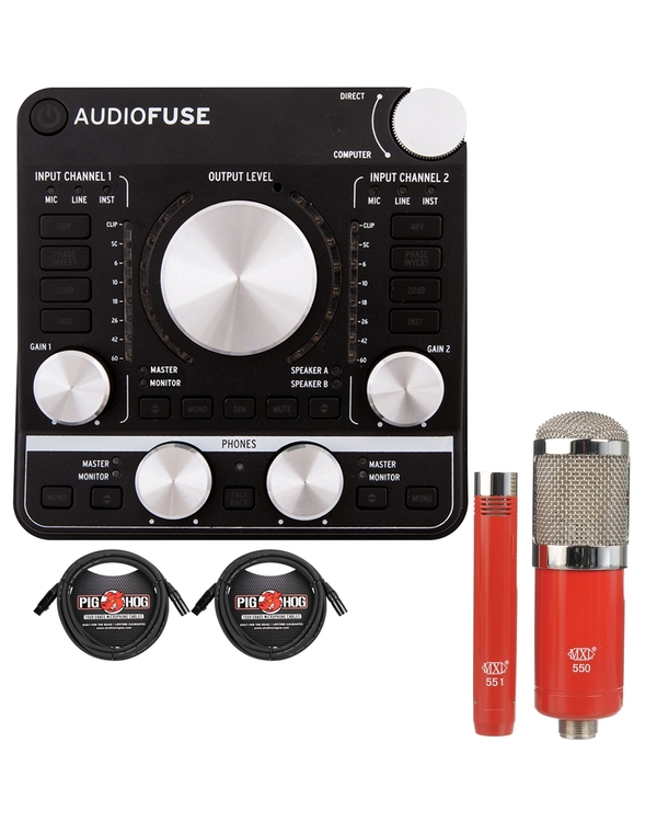 Arturia AudioFuse USB Audio Interface Dark Black with MXL Microphone Set and XLR Cables