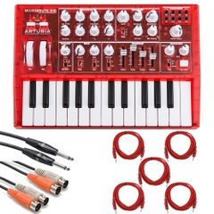 Arturia MicroBrute Red Analog Synthesizer and Cable Kit