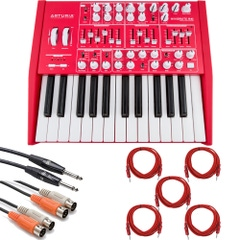 Arturia MiniBrute Red Analog Synthesizer and Cable Kit