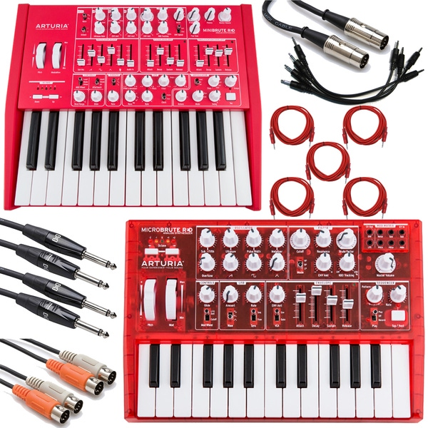 Arturia MiniBrute and MicroBrute Red Analog Synthesizer and Cable Kit