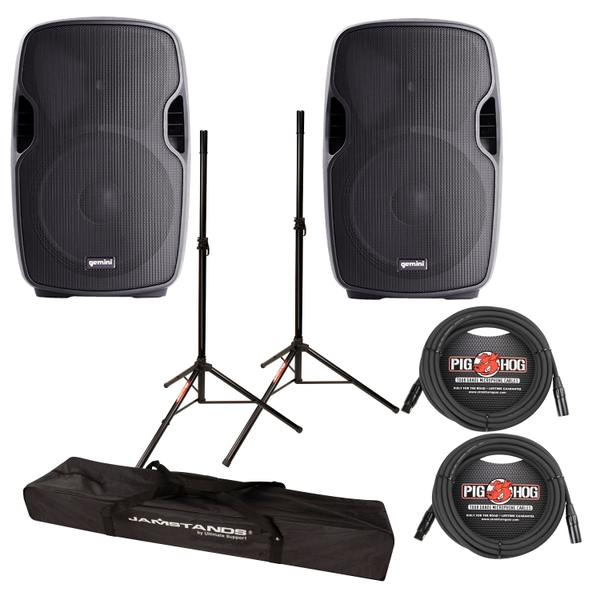 Gemini AS-12BLU 12 Inch Powered Loudspeakers Pair with Bluetooth + Cables + Stands