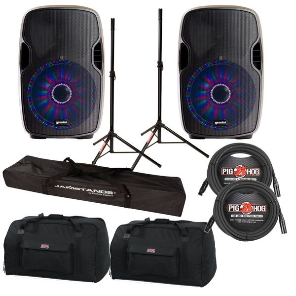 """Gemini AS-15BLU-LT 2-Way Powered 15"""" Speakers Pair with LED & Bluetooth Cables, Stands +Bags"""