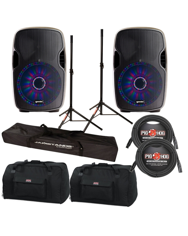 "Gemini AS-15BLU-LT 2-Way Powered 15"" Speakers Pair with LED & Bluetooth Cables, Stands +Bags"