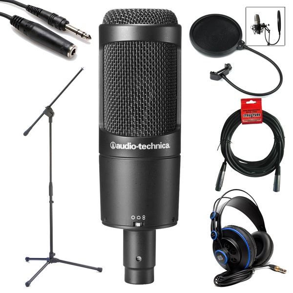 Audio Technica AT2050 Multi-pattern Condenser Microphone Studio Bundle