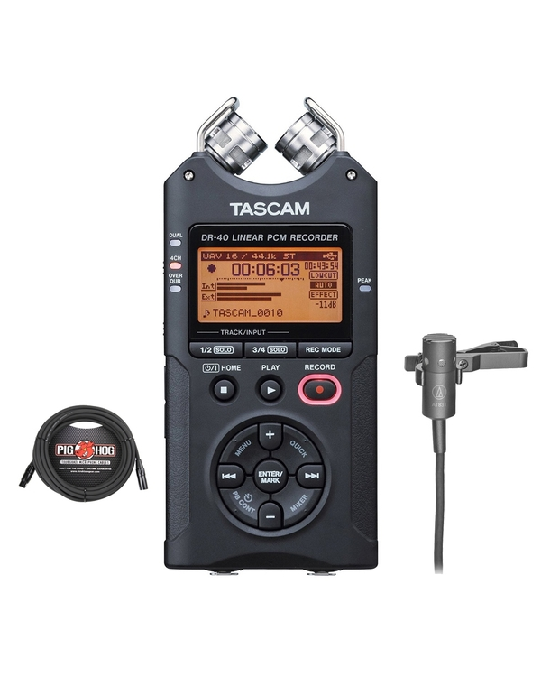 Tascam DR-40 Handheld Digital Recorder with Audio-Technica AT831B Lav Mic and 25 ft XLR Cable