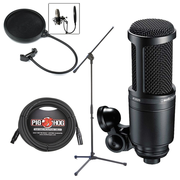 Audio-Technica AT2020 Recording Condenser Microphone with Stand, Cable, & Filter