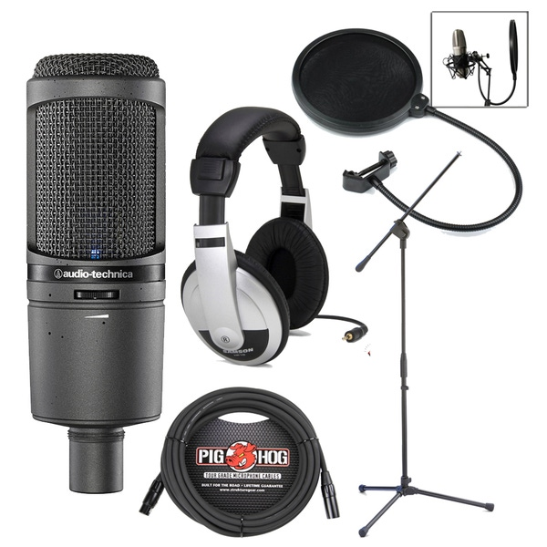 Audio-Technica AT2020USBi Condenser USB Microphone with Headphones, Pop Filter, Stand, and Cable