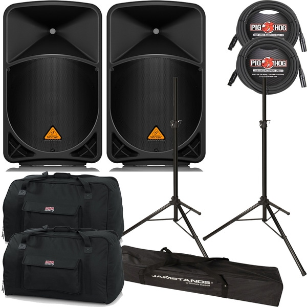 """Behringer B115D 2-Way Powered 15"""" Speakers Pair + Cables, Stands + Bags"""