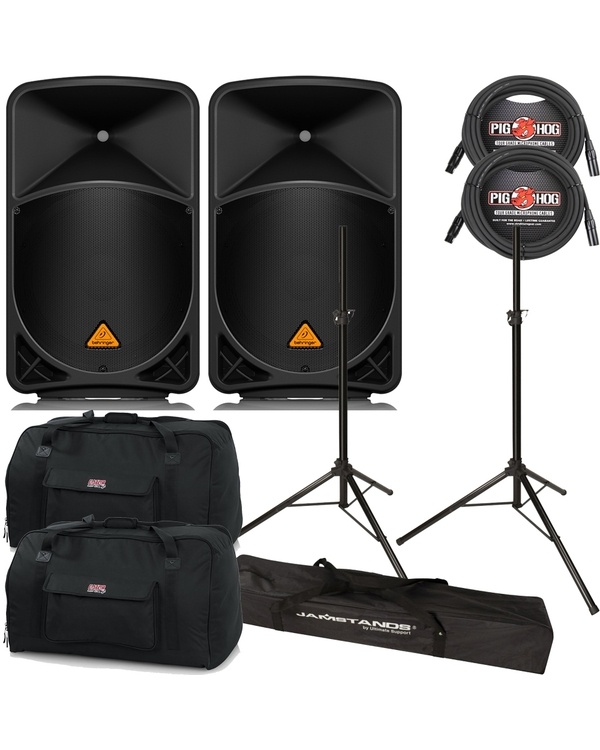 "Behringer B115D 2-Way Powered 15"" Speakers Pair + Cables, Stands + Bags"