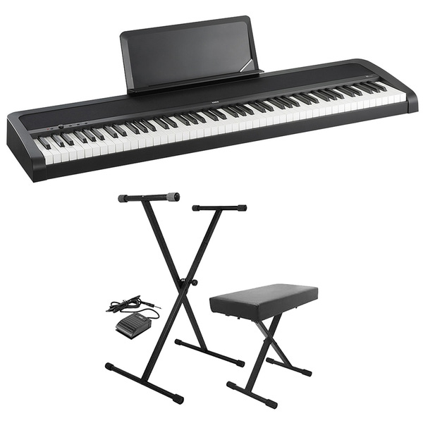 Korg B1 BK Weighted 88-Key Digital Piano with Stand, Bench, & Sustain Pedal